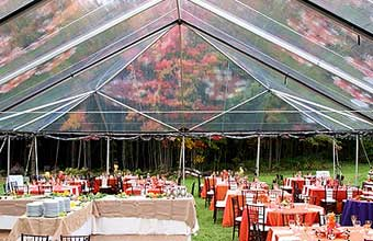 Open clear top tent with rustic look tables and chairs. Night view of mini-bulb string lights. & CLEAR TOP FREE SPAN TENT RENTAL. ONE OF THE MOST BEAUTIFUL FORMAL ...
